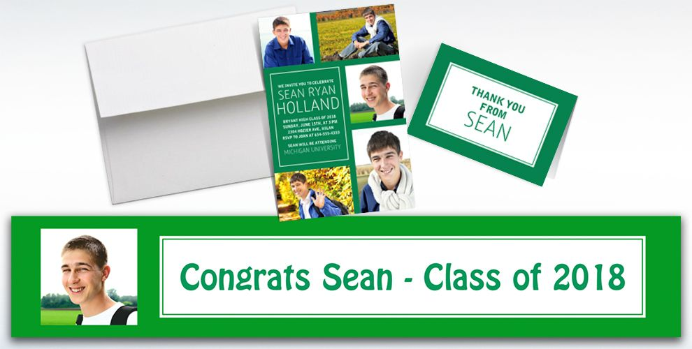 Custom Classic Green Graduation Banners, Invitations and Thank You Notes