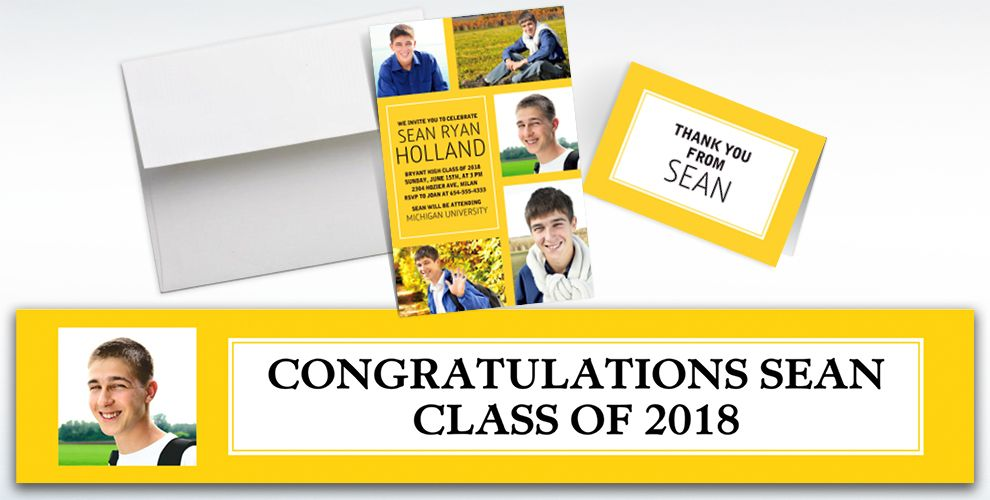 Custom Classic Yellow Graduation Banners, Invitations and Thank You Notes