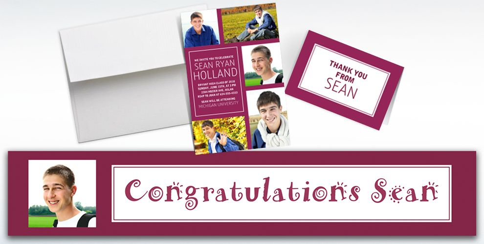 Custom Classic Berry Graduation Banners, Invitations and Thank You Notes