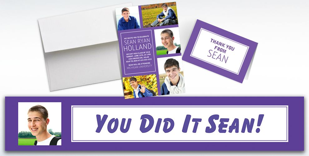 Custom Classic Purple Graduation Banners, Invitations and Thank You Notes