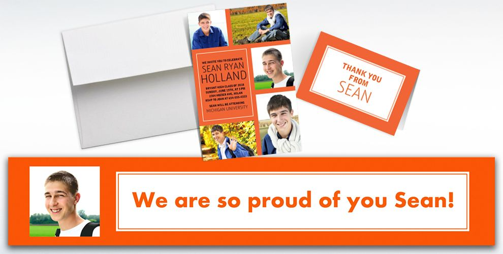 Custom Classic Orange Graduation Banners, Invitations and Thank You Notes
