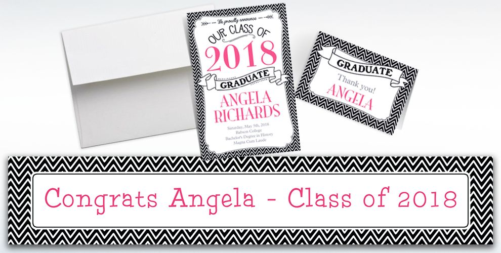 Custom Black and White Chevron Graduation Banners, Invitations and Thank You Notes