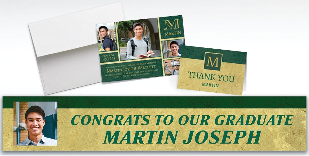custom gold and green textured graduation banners, invitations and thank you notes