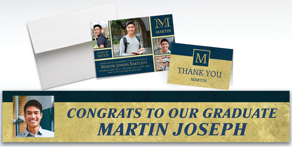 custom gold and navy textured graduation banners, invitations and thank you notes