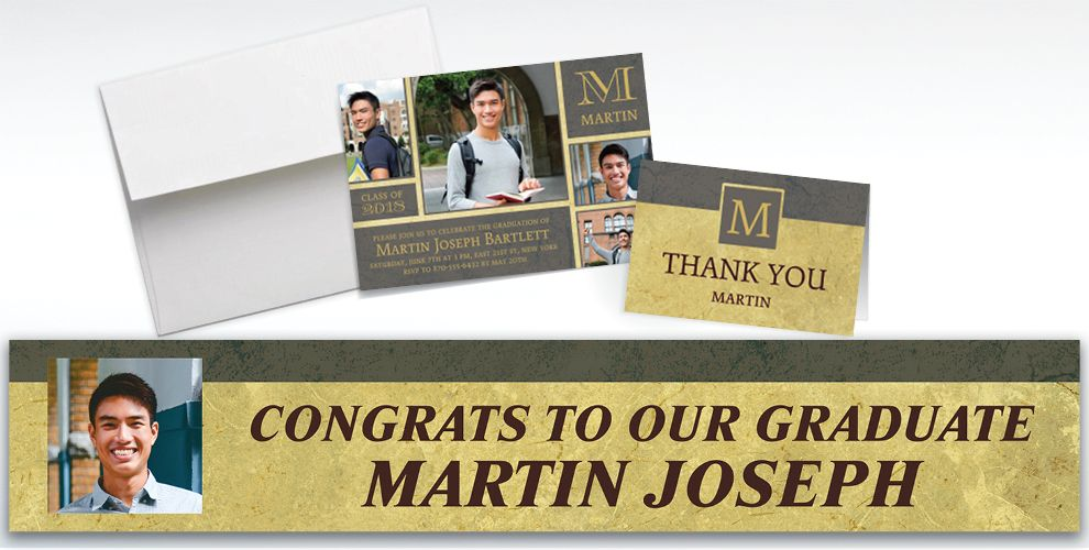 custom gold and gray textured graduation banners, invitations and thank you notes