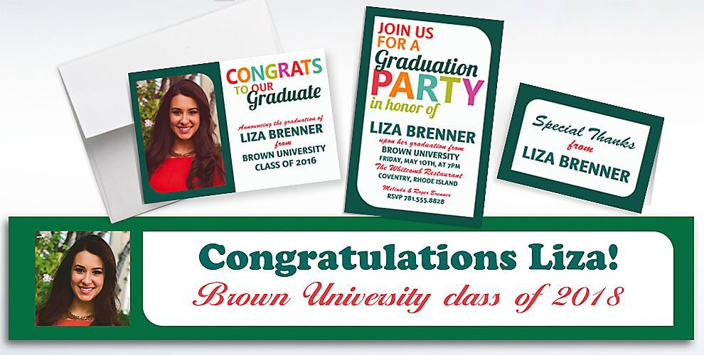 Custom Bright Graduation Invitations and Thank You Notes