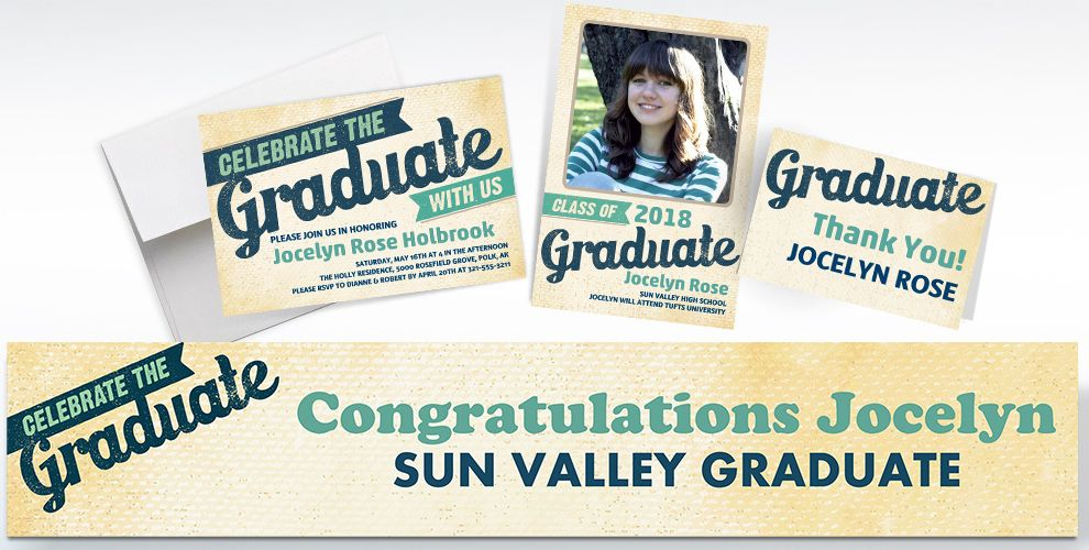 custom retro graduation banners, invitations and thank you notes
