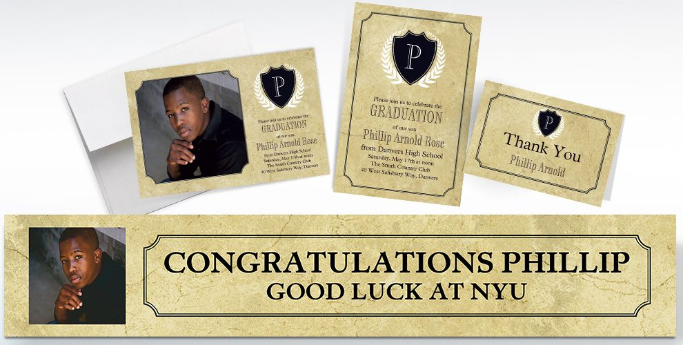 custom gold stone initial graduation banners, invitations and thank you notes