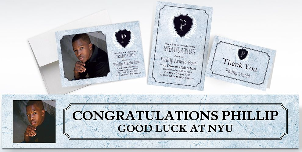custom silver stone initial graduation banners, invitations and thank you notes