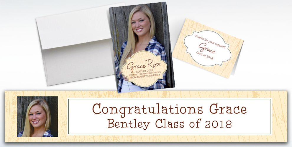 custom scroll wood graduation invitations and thank you notes
