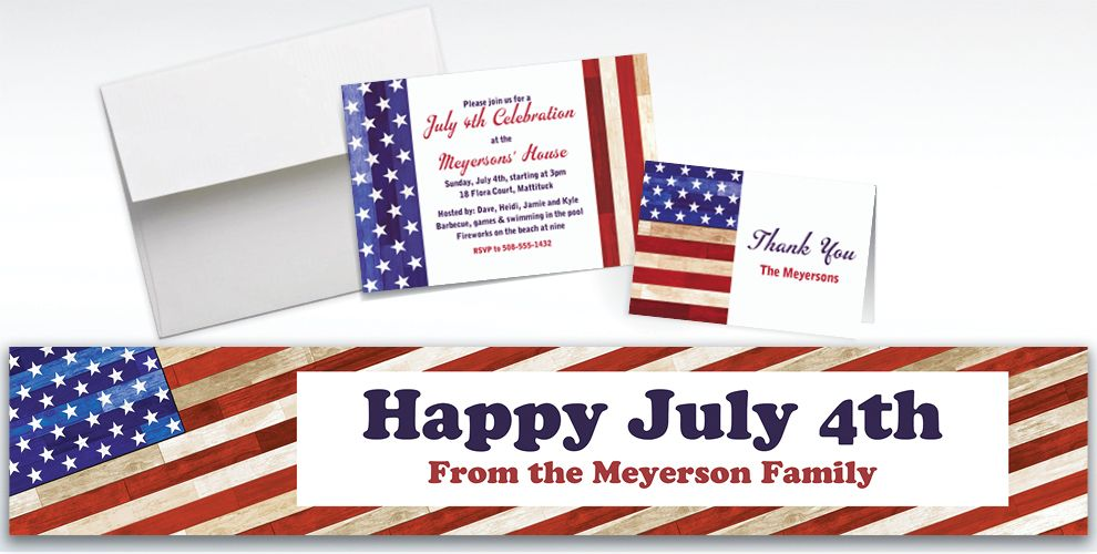 Custom Rustic Americana Invitations and Thank You Notes