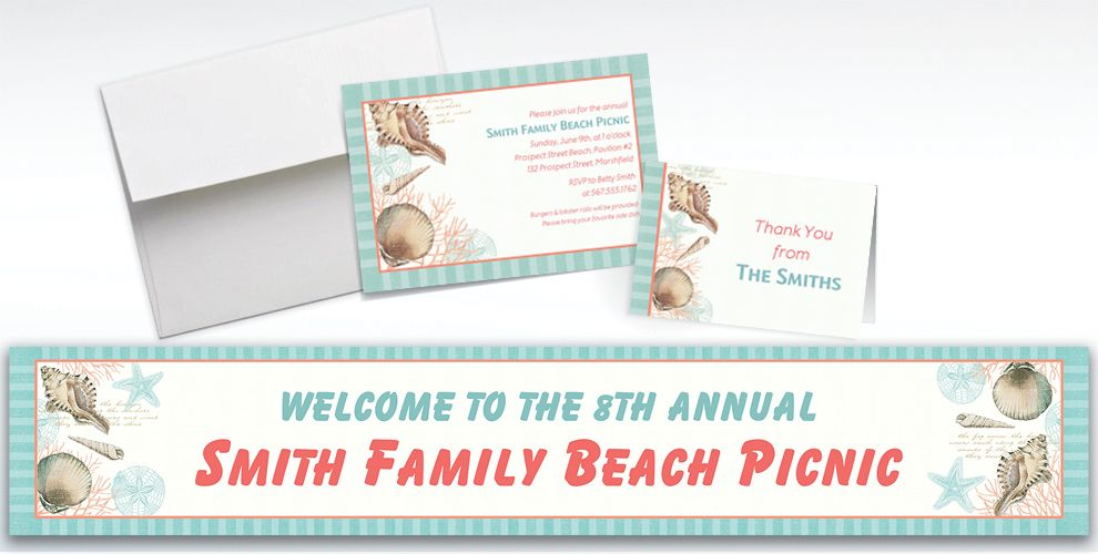 Custom By the Sea Seashell Invitations and Thank You Notes