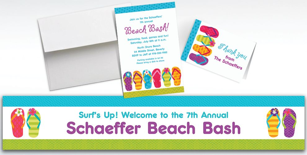 Custom Bright Flip Flop Invitations and Thank You Notes