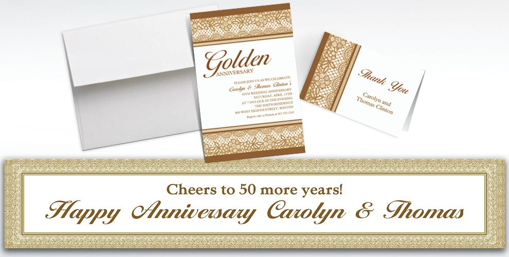 Custom Delicate Gold Lace Invitations and Thank You Notes