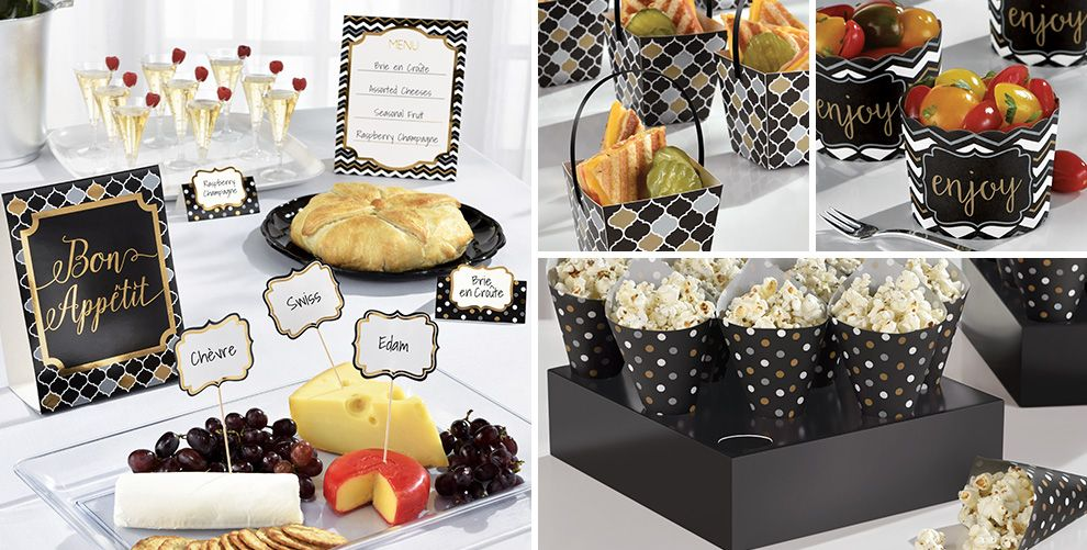 Black, Gold and Silver Mini Tasting Party Supplies