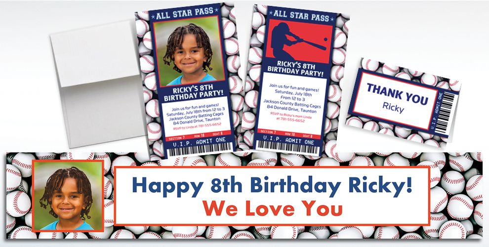 Custom Baseball Ticket Banners, Invitations and Thank You Notes