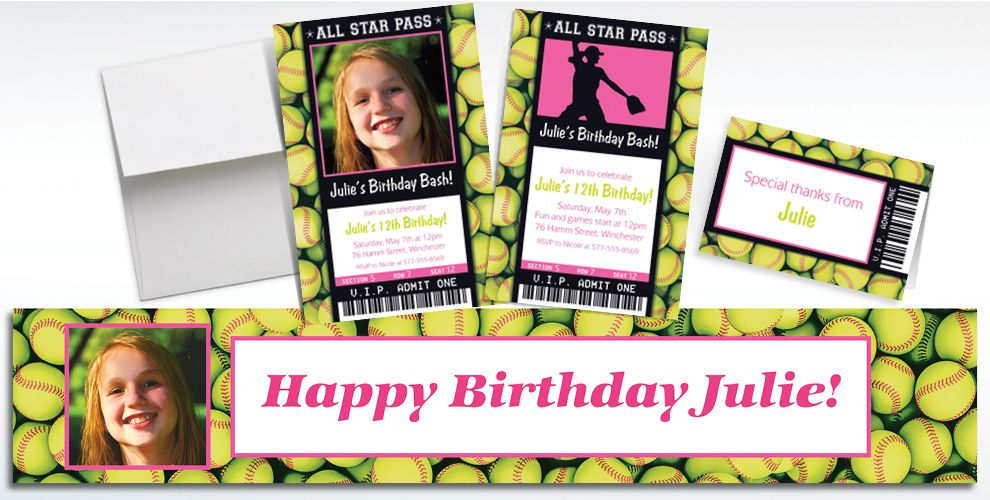 Custom Softball Ticket Invitations, Thank You Notes and Banners