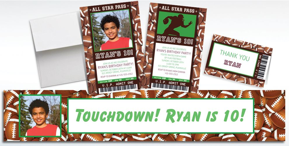 Custom Football Ticket Banners, Invitations and Thank You Notes