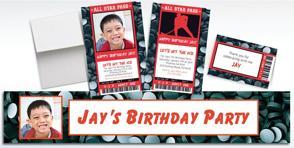 Custom Hockey Ticket Banners, Invitations & Thank You Notes | Party City