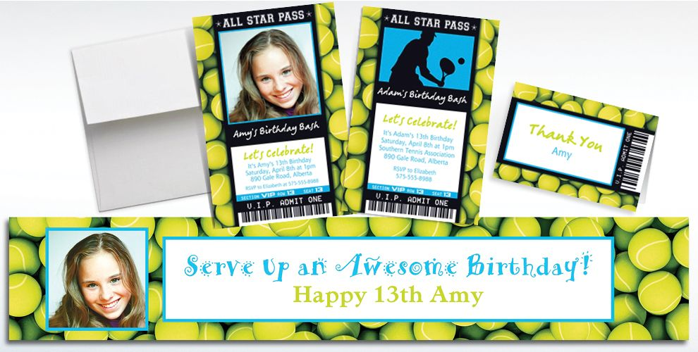 Custom Tennis Ticket Banners, Invitations and Thank You Notes