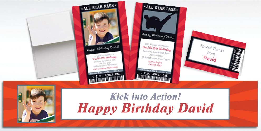 Custom Karate Ticket Invitations, Thank You Notes and Banners
