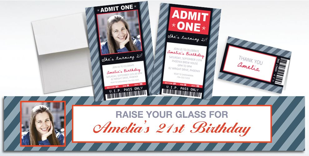 Custom Generic Ticket Invitations, Thank You Notes and Banners