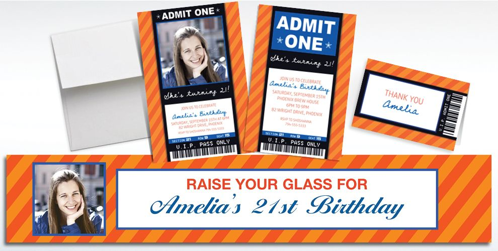 Custom Orange Ticket Invitations, Thank You Notes and Banners
