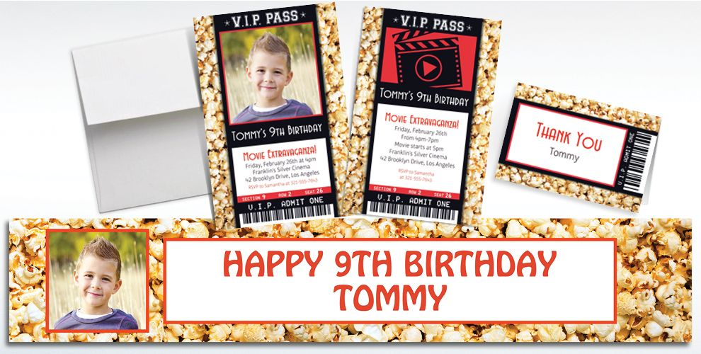 Custom Movie Ticket Invitations, Thank You Notes and Banners