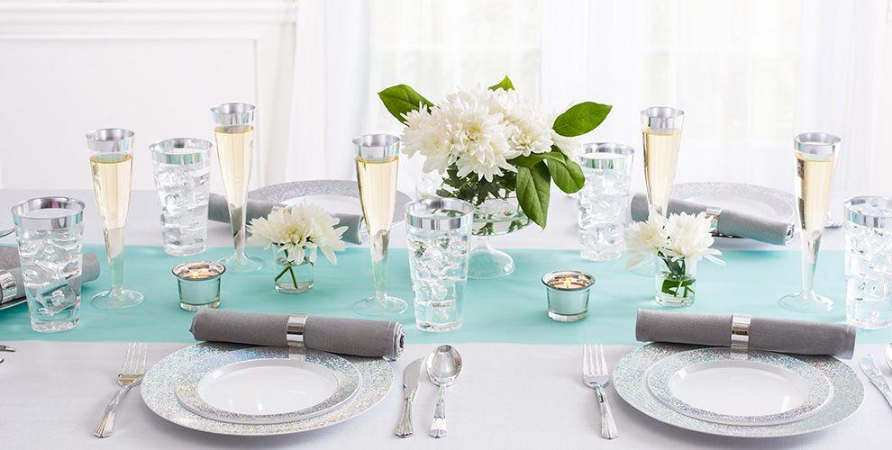 White Prismatic Silver Border Premium Tableware