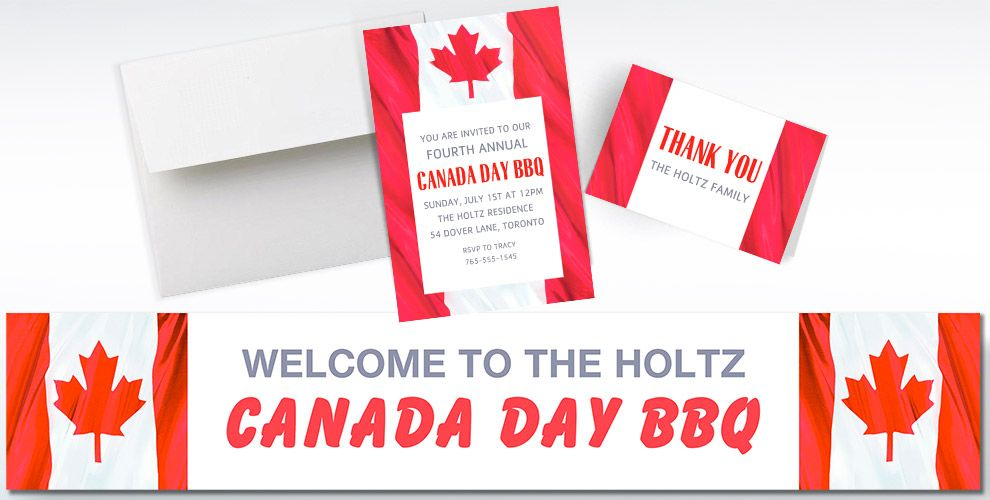 Custom Waving Canadian Flag Banners, Invitations & Thank You Notes