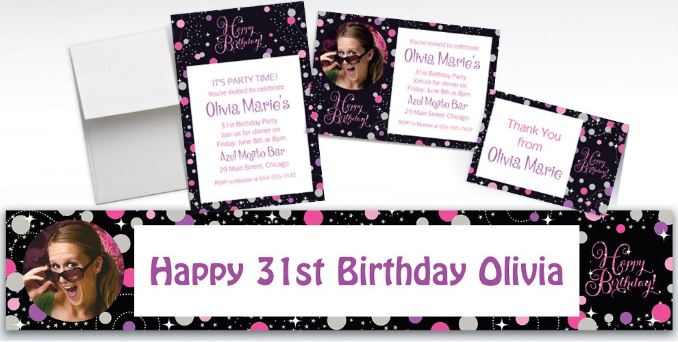 Custom Pink Sparkling Celebration Birthday Banners, Invitations and Thank You Notes