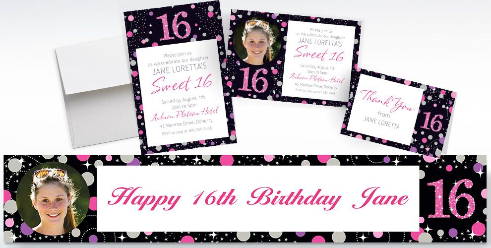 Custom pink sparkling celebration 16th birthday banners invitations custom pink sparkling celebration 16th birthday invitations thank you notes and banners stopboris Image collections