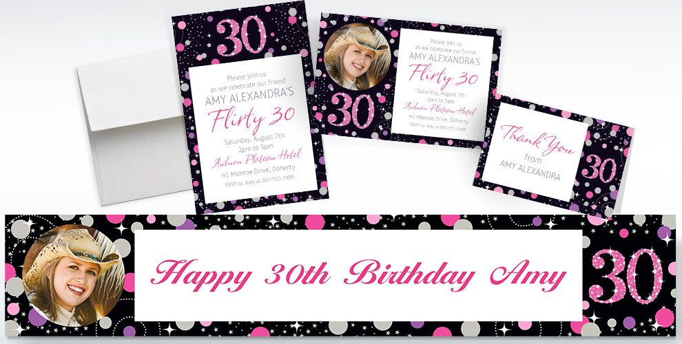 Custom Pink Sparkling Celebration 30th Invitations, Thank You Notes and Banners
