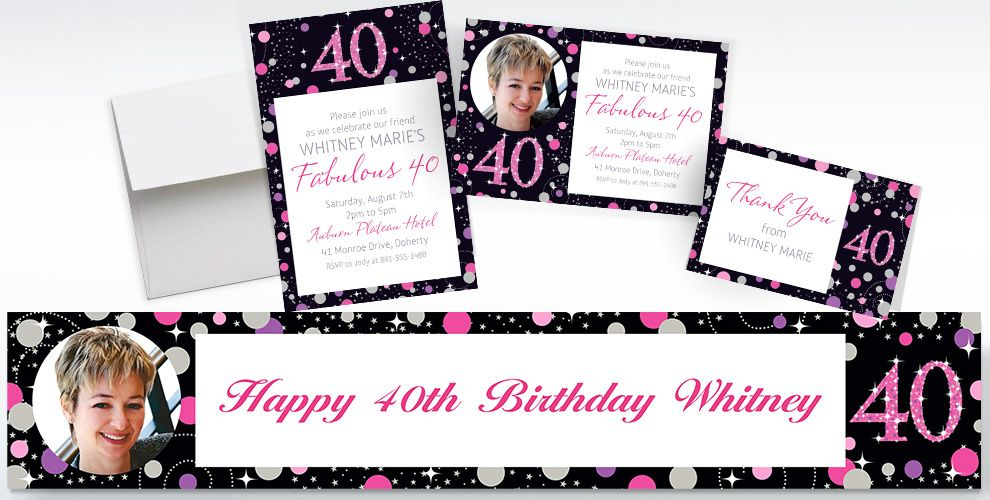 Custom Pink Sparkling Celebration 40th Banners, Invitations and Thank You Notes