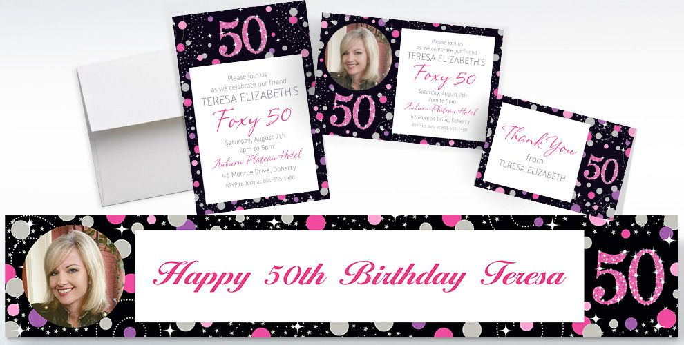 Custom Pink Sparkling Celebration 50th Banners, Invitations and Thank You Notes