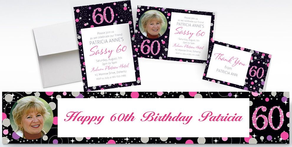 Custom Pink Sparkling Celebration 60th Banners, Invitations and Thank You Notes