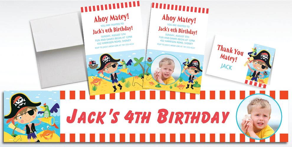 Custom Little Pirate Invitations, Thank You Notes and Banners
