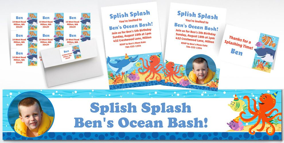 Custom Under the Sea Invitations, Thank You Notes and Banners