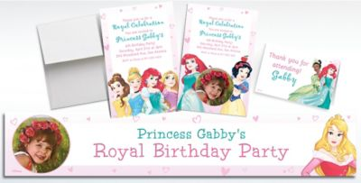 Custom Disney Princess Banners Invitations Thank You Notes