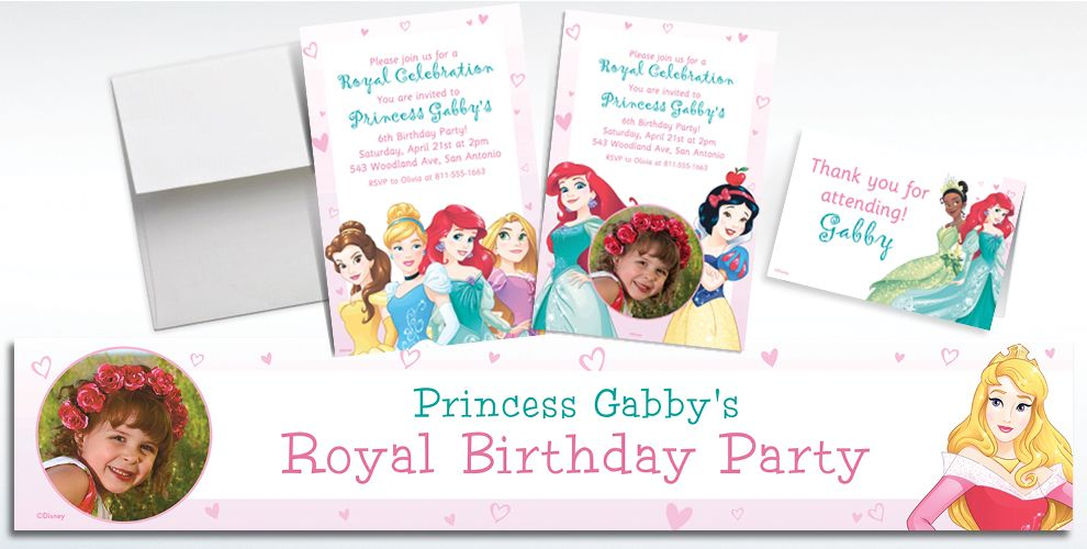 Custom Disney Princess Invitations, Thank You Notes and Banners