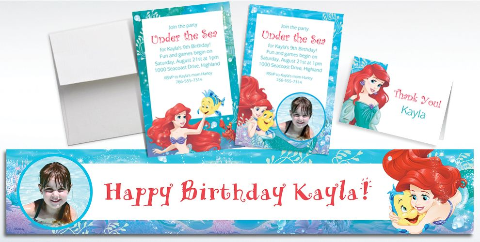 Custom Ariel Invitations, Thank You Notes and Banners