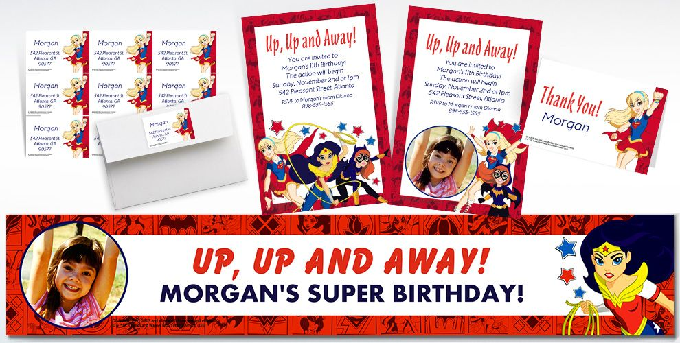 Custom DC Super Hero Girls Invitations, Thank You Notes and Banners
