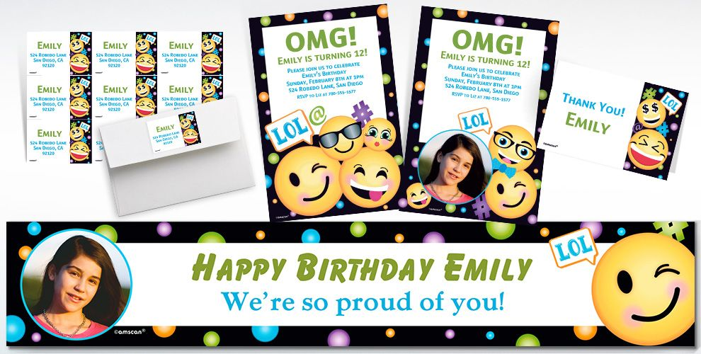 Custom Smiley Invitations, Thank You Notes and Banners