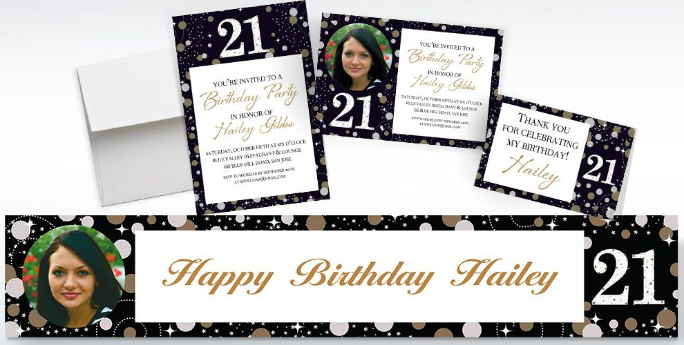 Custom pink sparkling celebration 21st birthday banners invitations custom sparkling celebration 21st birthday invitations thank you notes and banners stopboris Image collections