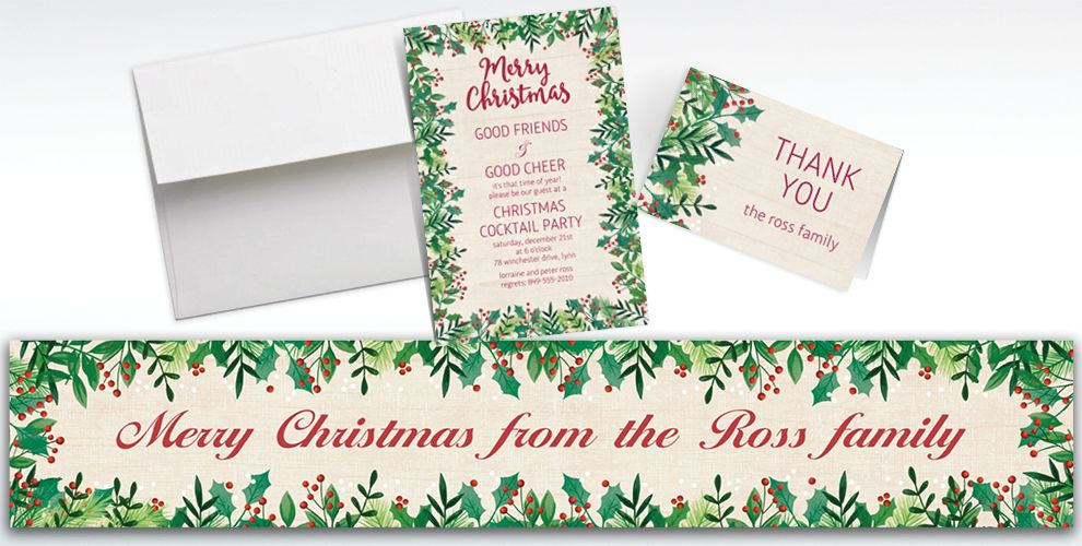 Custom Holly Merry Christmas Banners, Invitations and Thank You Notes