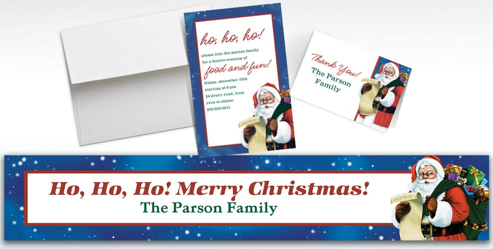 Custom Classic Santa Banners, Invitations and Thank You Notes