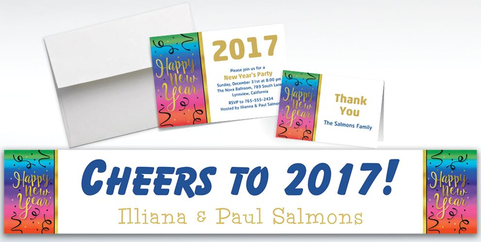 Custom Colorful Happy New Year Banners, Invitations and Thank You Notes