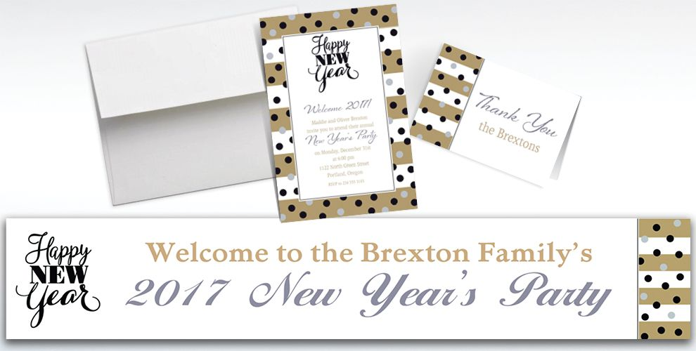 Custom Golden Pattern Happy New Year Banners, Invitations and Thank You Notes