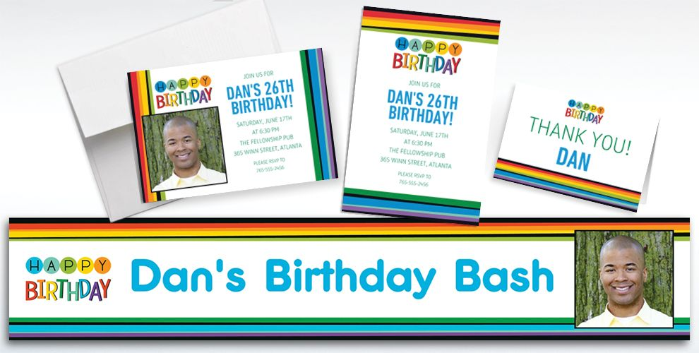Custom Rainbow Birthday Banners, Invitations and Thank You Notes