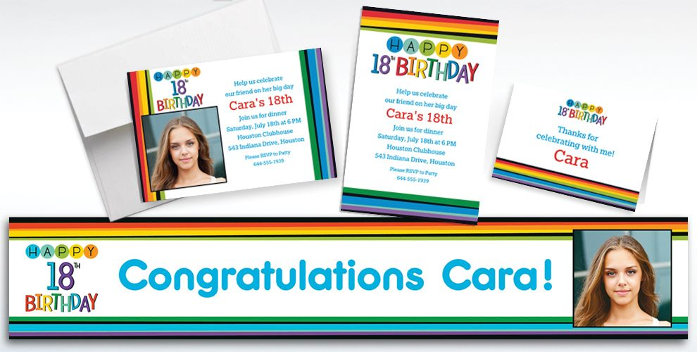 Custom Rainbow 18th Birthday Invitations, Thank You Notes and Banners
